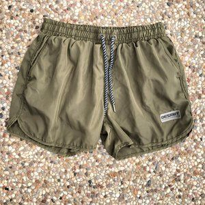 Desmiit Swim Shorts Trunks Olive Green Pockets